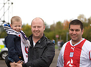 Dundee fan Alan Smith (centre- who now lives in Elgin) brought his son Callum to his first ever match along with friend Kev' McDonald - Stirling Albion v Dundee, IRN BRU Scottish League 1st Division, Forthbank Stadium, Stirling<br /> <br />  - © David Young<br /> ---<br /> email: david@davidyoungphoto.co.uk<br /> http://www.davidyoungphoto.co.uk