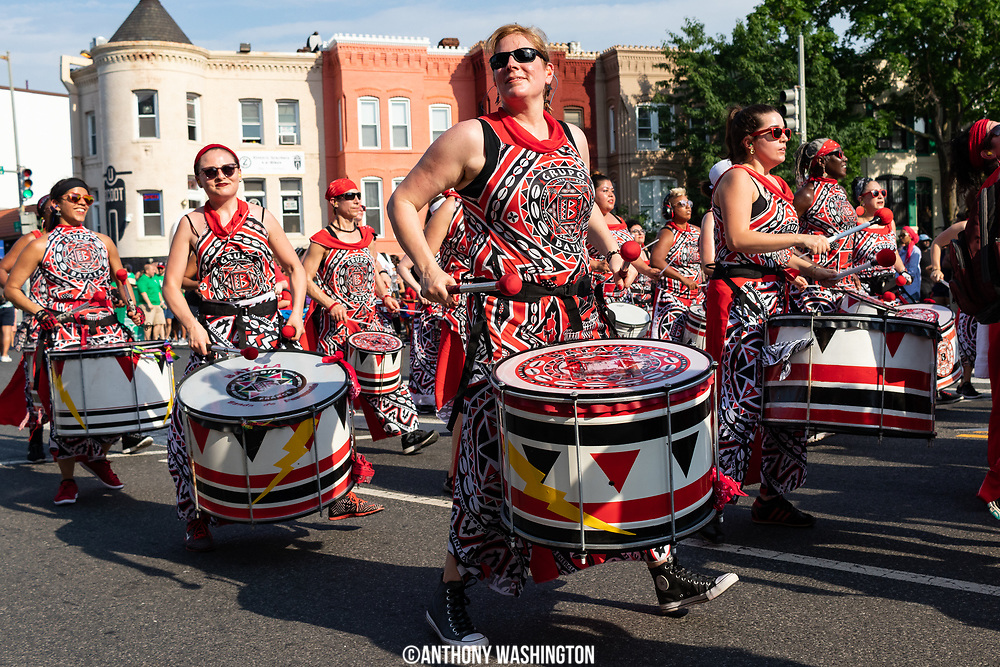 Batala Washington parade down U St. during Funk Parade 2018 in Washington, DC on Saturday, May 12. 2018.