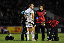 Andy Goode of Wasps looks on after receiving treatment during a break in play - Photo mandatory by-line: Patrick Khachfe/JMP - Mobile: 07966 386802 17/01/2015 - SPORT - RUGBY UNION - London - The Twickenham Stoop - Harlequins v Wasps - European Rugby Champions Cup