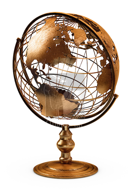 3D art showing a caged brass metalic globe on white.