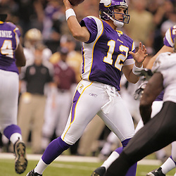 2008 October, 06: Minnesota Vikings quarterback Gus Frerotte (12) prepares to throw a pass during the first half of a week five regular season game between the Minnesota Vikings and the New Orleans Saints for Monday Night Football at the Louisiana Superdome in New Orleans, LA.