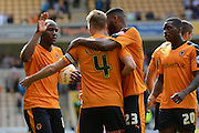Dave Edwards celebrates goal during the Sky Bet Championship match between Wolverhampton Wanderers and Charlton Athletic at Molineux, Wolverhampton, England on 29 August 2015. Photo by Alan Franklin.
