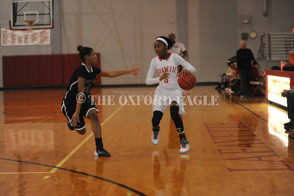 Lafayette High's Shaniyah Buford (3) vs. Tunica Rosa Fort in Oxford, Miss. on Friday, February 6, 2015.
