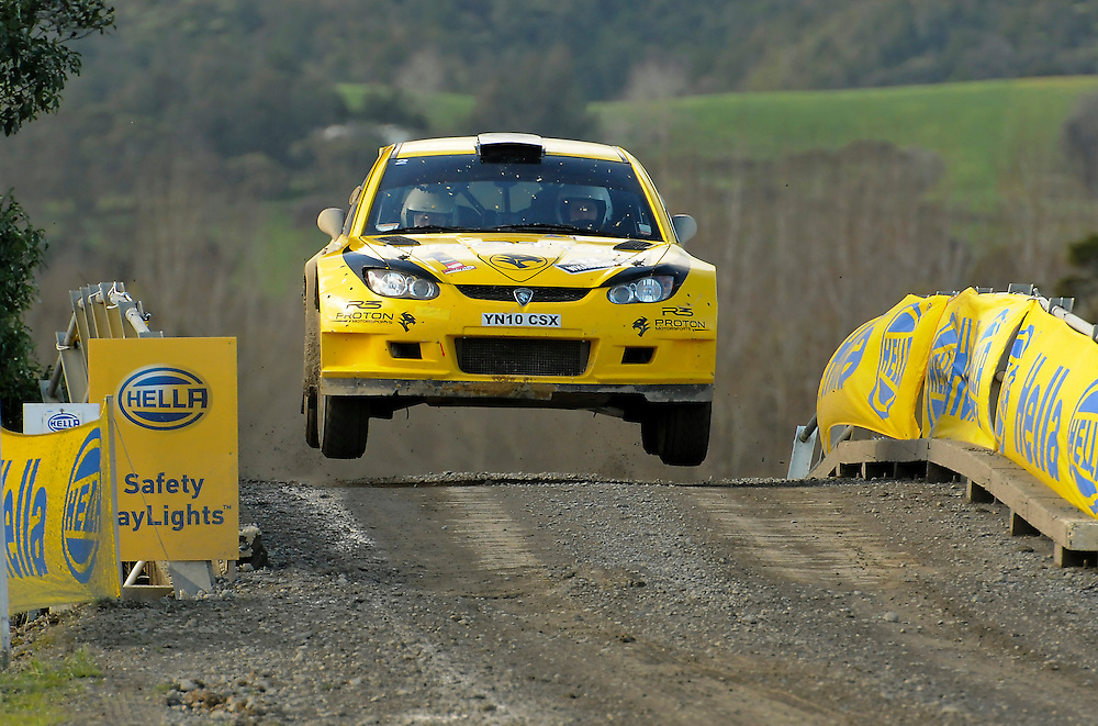 Chris Atkinson, Australia,  and co-driver Stephane Prevot, Belgium, on their way to victory on the final day of the International Rally of Whangarei, New Zealand, Sunday, July 17, 2011. Credit:SNPA/Malcolm Pullman.