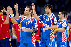 Ivano Balic of Croatia  and Domagoj Duvnjak of Croatia after the handball match between Croatia and Spain for 3rd place game at 10th EHF European Handball Championship Serbia 2012, on January 29, 2012 in Beogradska Arena, Belgrade, Serbia.  Croatia defeated Spain 31-27 and won 3rd place. (Photo By Vid Ponikvar / Sportida.com)