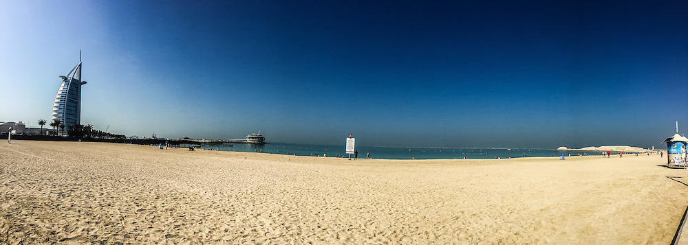 Pic from a panoramic photo from an iPhone6, The Burj al Arab hotel. Images from the MSC Musica cruise to the Persian Gulf, visiting Abu Dhabi, Khor al Fakkan, Khasab, Muscat, and Dubai, traveling from 13/12/2015 to 20/12/2015.