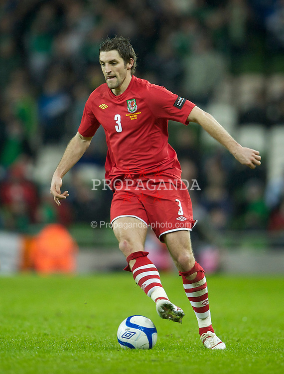 DUBLIN, IRELAND - Tuesday, February 8, 2011: Wales' Sam Ricketts in action against the Republic of Ireland during the opening Carling Nations Cup match at the Aviva Stadium (Lansdowne Road). (Photo by David Rawcliffe/Propaganda)