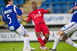 MOLDE, NORWAY - Wednesday, September 7, 2011: Liverpool's Raheem Sterling in action against Molde during the second NextGen Series Group 2 match at Aker Stadion. (Photo by Vegard Grott/Propaganda)