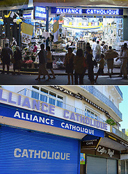 Religious articles shops in Lourdes, southwestern France, on August 13, 2004 (top) one day before Pope John Paul II's visit, his 104th foreign visit, to preach the message of world peace and Streets of Lourdes is empty, France on April 10, 2020 (bottom) as the Catholic pilgrimage site was closed to the public due on the twenty-fourth day of a strict lockdown across France to attempt to halt the spread of COVID-19, caused by the novel coronavirus. Lourdes is about to experience an unprecedented week of Easter, without faithful. Photo by Laurent Zabulon/Thibaud Moritz/JMP/ABACAPRESS.COM