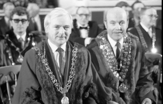 Inaugeration of President Hillery..1983.03.12.1983.12.03.1983.3rd December 1983...Dignitaries from home and abroad attended the Inaugeration of Patrick Hillery, as president of Ireland. the ceremony took place at St Patrick's Hall,Dublin Castle...Image of the Lord Mayor of Cork, John Dennehy and Lord Mayor of Waterford,Richard Jones as they take their places for the ceremony.