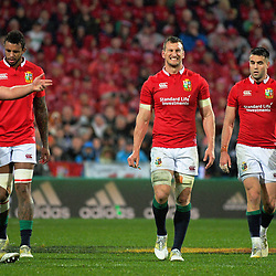 Lions players, from left: Jamie George, Courtenay Lawes, Sam Warburton and Conor Murray during the 2017 DHL Lions Series 2nd test rugby match between the NZ All Blacks and British & Irish Lions at Westpac Stadium in Wellington, New Zealand on Saturday, 1 July 2017. Photo: Dave Lintott / lintottphoto.co.nz