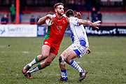 Keighley Cougars centre Hamish Barnes (3) in action  during the Betfred League 1 match between Keighley Cougars and Workington Town at Cougar Park, Keighley, United Kingdom on 18 February 2018. Picture by Simon Davies.