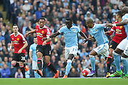Anthony Martial of Manchester United passes the ball forward during the Barclays Premier League match between Manchester City and Manchester United at the Etihad Stadium, Manchester, England on 20 March 2016. Photo by Phil Duncan.
