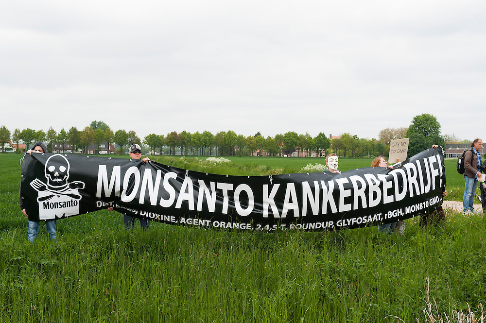 Nederland, Wageningen, 24 mei 2013.Wereldwijd is vandaag in enkele honderden plaatsen een Mars tegen Monsanto gehouden. Monsanto is 's werelds grootste zadenproducent. In Nederland was de grootste actie in Wageningen. Monsanto is de producent van het bekende insecticide Roundup en de grootste producent van genetisch gemodificeerde zaden voor o.a. soja en mais..Foto(c): Michiel Wijnbergh