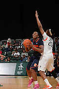 February 20, 2014: Shakeya Leary #34 of Syracuse shoots over Keyona Hayes #20 of Miami during the NCAA basketball game between the Miami Hurricanes and the Syracuse Orange at the Bank United Center in Coral Gables, FL. The Orange defeated the Hurricanes 69-48.