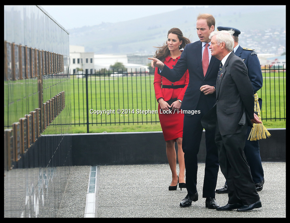 The  Duke and Duchess of Cambridge at the RNZAF Memorial Wall at Air Force Museum, Wigram in  Christchurch, New Zealand, Monday, 14th April 2014. Picture by Stephen Lock / i-Images