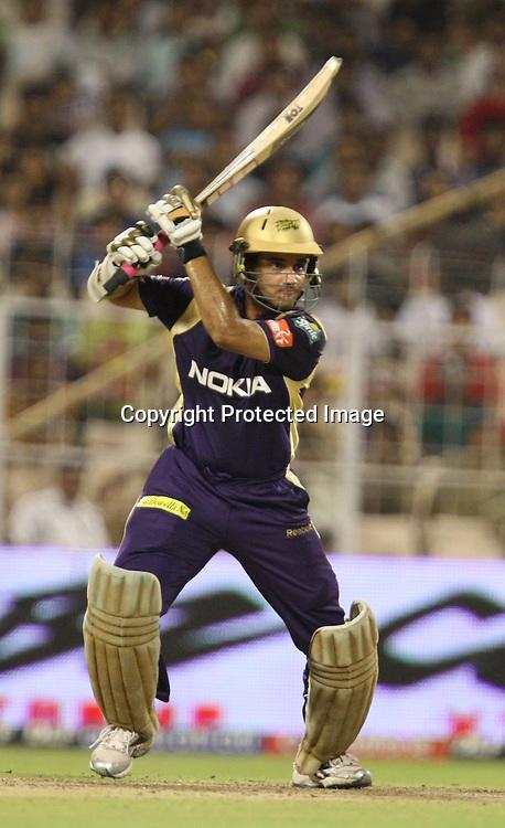Kolkata Knight Riders Batsman Sourav Ganguly Hit The Shot Aganst Delhi Daredevils During The Indian Premier League - 39th match Twenty20 match 2009/10 season Played at Eden Gardens, Kolkata 7 April 2010 - day/night (20-over match)