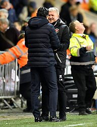 Blackpool Manager Terry McPhillips (right) shakes hands with Arsenal manager Unai Emery at the end of the Emirates FA Cup, third round match at Bloomfield Road, Blackpool.