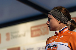 Chantal Blaak waits on the podium after securing third place at Omloop van Borsele Time Trial 2016. A 19.9 km individual time trial starting and finishing in 's-Heerenhoek, Netherlands on 22nd April 2016.