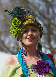 LIVERPOOL, ENGLAND - Friday, April 9, 2010: A female race-goer attends Ladies' Day during the second day of the Grand National Festival at Aintree Racecourse. (Pic by David Rawcliffe/Propaganda)