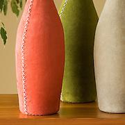 Group Pisa Vases; Avocado, Toffee and Orange