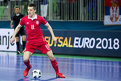 Milos Simic of Serbia during futsal match between Serbia and Italy at Day 3 of UEFA Futsal EURO 2018, on February 1, 2018 in Arena Stozice, Ljubljana, Slovenia. Photo by Urban Urbanc / Sportida