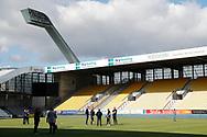 FODBOLD: FC Helsingørs trup inspicerer banen før kampen i ALKA Superligaen mellem AC Horsens og FC Helsingør den 23. september 2017 på CASA Arena Horsens. Foto: Claus Birch