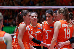 10–01-2020 NED: Olympic qualification tournament women Netherlands - Poland, Apeldoorn<br /> The Dutch volleyball players lost the third group match of the OKT in Apeldoorn 3-1 against Poland / Anne Buijs #11 of Netherlands, Yvon Beliën #3 of Netherlands, Floortje Meijners #8 of Netherlands, Celeste Plak #4 of Netherlands