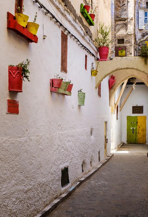 FEZ, MOROCCO - CIRCA APRIL 2017:  Alleyway at the Medina in Fez