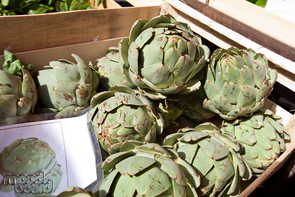 Fresh artichoke in container at market