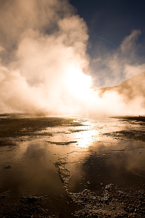 Sunrise behind fumaroles at an altitude of 4300m, El Tatio Geysers, Atacama desert, Antofagasta Region, Chile, South America
