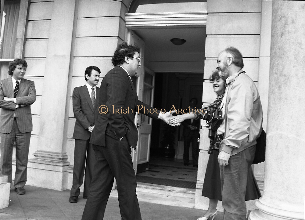 Tipp O'Neill At Iveagh House, Dublin.  (R61)..1987..10.07.1987..07.10.1987..10th July 1987..Mr Tipp 'Neill, Speaker of the House of Representatives in Washington DC paid a courtesy call at Iveagh House, Dublin today. Mr O'Neill was the guest of honour at a luncheon hosted by An Taoiseach, Charles Haughey and An Tanaiste, Brian Lenihan...Image shows Mr John Hume arriving at Iveagh House for the luncheon to honour Mr Tipp O'Neill, Speaker of the House of Representatives in Washington DC.