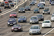 Traffic on four-lane M25 motorway, London, United Kingdom