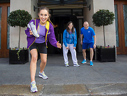 Repro Free: 05/03/2013 Model Roz Purcell is pictured at the launch of the New Balance Gear lending initiative in The Westin Dublin with Ciara Smullen, Barretstown and Andrew Henning, General Manager, The Westin Dublin who will lead approximately 50 associates, guests and friends of the hotel on a 5k run around the city in aid of children's charity Barretstown. For just ?5, guests of The Westin Dublin can now borrow running shoes with disposable insoles, as well as a variety of men's and women's New Balance apparel, enabling more travellers to stay healthy and fit on the road.  www.thewestindublin.com Picture Andres Poveda