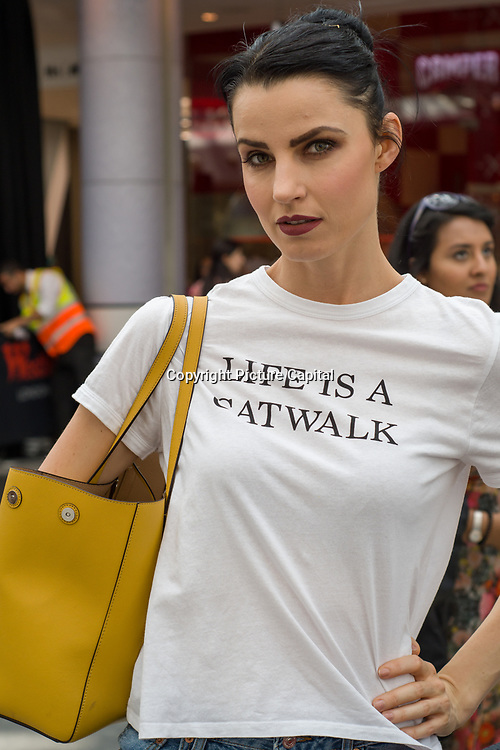 Aneta Kocisova from Slovakia is a model in demand of Modest fashion modelling at the Modest and Beautiful a Modest Fashion Live at The Atrium in Westfield London on June 24, 2018.