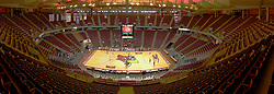 31 OCT 2008: Panoramic of the inside of Redbird Arena stitched together from several shots taken from the top of the upper bowl before a volleyball match in which the Missouri State Bears defeated the Redbirds of Illinois State 3 sets to 2 on Doug Collins Court inside Redbird Arena in Normal Illinois This image was produced in part utilizing High Dynamic Range (HDR) or panoramic stitching or other computer software manipulation processes. It should not be used editorially without being listed as an illustration or with a disclaimer. It may or may not be an accurate representation of the scene as originally photographed and the finished image is the creation of the photographer.