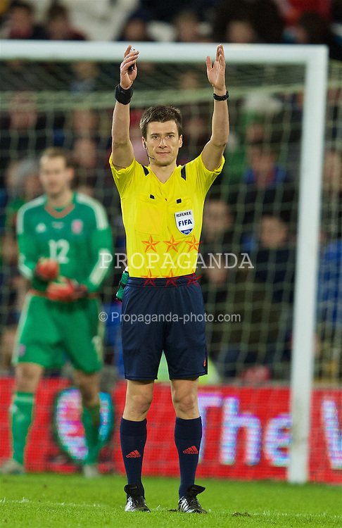 CARDIFF, WALES - Friday, November 13, 2015: Referee Benoit Bastien during the International Friendly match between Wales and the Netherlands at the Cardiff City Stadium. (Pic by David Rawcliffe/Propaganda)