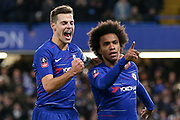 Chelsea Midfielder Willian celebrates his goal with Chelsea Defender Cesar Azpilicueta 1-0 during the The FA Cup fourth round match between Chelsea and Sheffield Wednesday at Stamford Bridge, London, England on 27 January 2019.