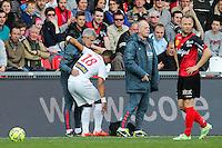 BLESSURE Franck BERIA  - 08.03.2015 - Guingamp / Lille - 28eme journee de Ligue 1 <br /> Photo : Vincent Michel / Icon Sport
