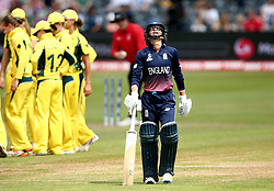 Danielle Wyatt of England cuts a dejected figure after being bowled by Jess Jonassen of Australia Women - Mandatory by-line: Robbie Stephenson/JMP - 09/07/2017 - CRICKET - Bristol County Ground - Bristol, United Kingdom - England v Australia - ICC Women's World Cup match 19