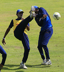 August 23, 2017 - Kandy, Sri Lanka - Sri Lankan cricketer Dushmantha Chameera (L) plays football with Sri Lankan cricket captain Upul Tharanga(R) during a practice session ahead of the 2nd ODI cricket match between Sri Lanka and India at Pallekele International cricket ground , Kandy, Sri Lanka on Wednesday August 23 2017. (Credit Image: © Tharaka Basnayaka/NurPhoto via ZUMA Press)