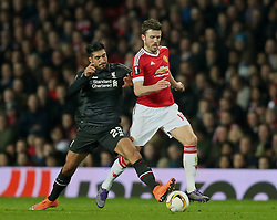 MANCHESTER, ENGLAND - Wednesday, March 16, 2016: Liverpool's Emre Can in action against Manchester United's Michael Carrick during the UEFA Europa League Round of 16 2nd Leg match at Old Trafford. (Pic by David Rawcliffe/Propaganda)