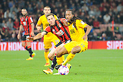 Daniel Johnson (11) of Preston North End shields the ball from AFC Bournemouth midfielder Dan Gosling during the EFL Cup match between Bournemouth and Preston North End at the Vitality Stadium, Bournemouth, England on 20 September 2016. Photo by Graham Hunt.