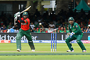 Shakib Al Hasan (vc) of Bangladesh hits the ball to the boundary for four runs during the ICC Cricket World Cup 2019 match between Pakistan and Bangladesh at Lord's Cricket Ground, St John's Wood, United Kingdom on 5 July 2019.