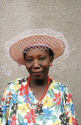 Portrait of woman wearing hat with netting,