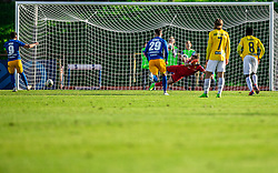 Mitja Lotrič of Celje scoring second goal against Igor Vekić of Bravo during football match between NK Bravo and NK Celje in 13th Round of Prva liga Telekom Slovenije 2019/20, on October 5, 2019 in ZAK stadium, Ljubljana, Slovenia. Photo by Vid Ponikvar / Sportida