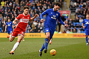 Middlesbrough forward Rudy Gestede (39) closes down Cardiff City defender Sean Morrison (4) 1-0 during the EFL Sky Bet Championship match between Cardiff City and Middlesbrough at the Cardiff City Stadium, Cardiff, Wales on 17 February 2018. Picture by Alan Franklin.
