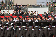 """October, 23, 2016, Asaka, Saitama Prefecture, Japan: Cadets from the Ground Self Defense Force's """"High Technical School"""", march in formation during the annual military review held at the Asaka Training Area, with Prime Minister Abe observing. This is a Japan Ground Self Defense Force (JSDF) base on the outskirts of Tokyo. For this event, Prime Minister Shinzo Abe, top ranking Japanese brass and international dignitaries were in attendance to view Japan's military might. This included 4000 troops, 27 divisions, 280 vehicles and artillery, plus 50 aircraft of the Ground, Air, and Maritime branches of the JSDF. (Torin Boyd/Polaris)."""