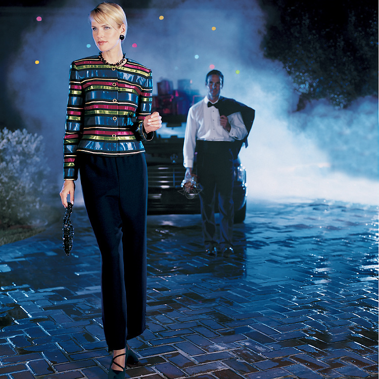 This image was created for a South Florida clothing catalog, by shooting at night. Joe and Dawn are all dressed up to travel to a special event.