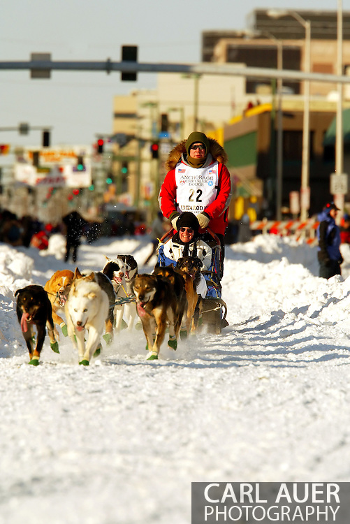 3/3/2007:  Anchorage Alaska -  Veteran Gerald Sousa of Talkeetna, AK comes down 4th Avenue during the Ceremonial start of the 35th Iditarod Sled Dog Race